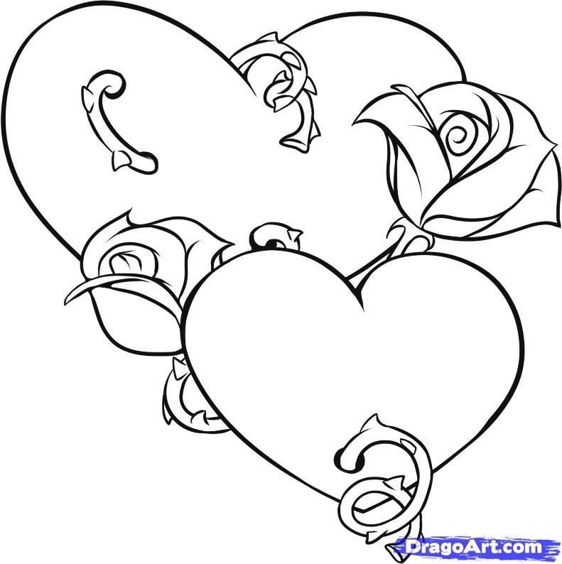 791x794 Free Coloring Pages Hearts And Flowers