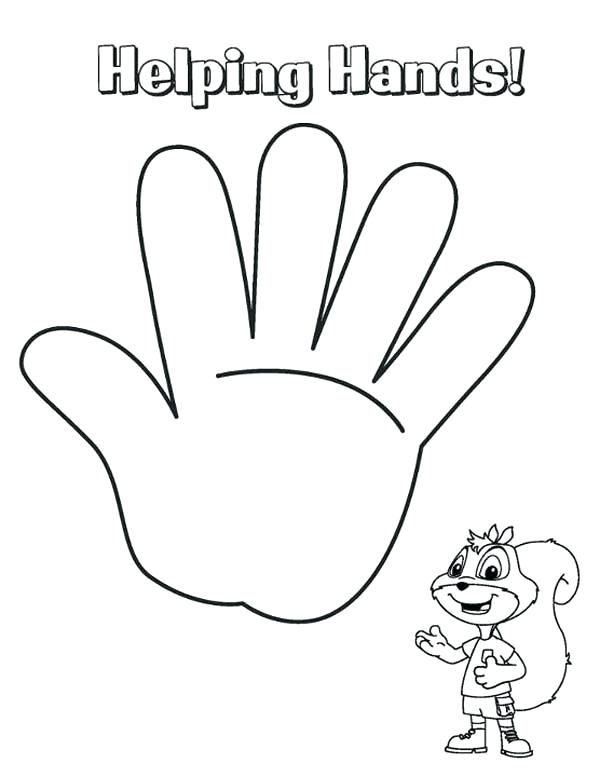 600x777 Coloring Page Of A Hand Hand Coloring Sheet Coloring Pages Handy