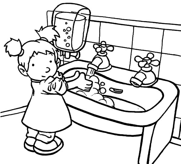 600x544 Fancy Design Hand Washing Coloring Pages For Printable Kids