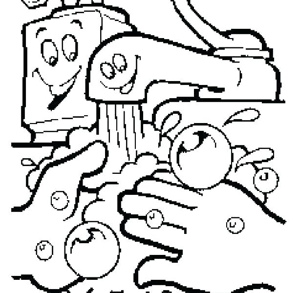 612x600 Germ Coloring Sheets Washing Hands Coloring Page Hand Washing