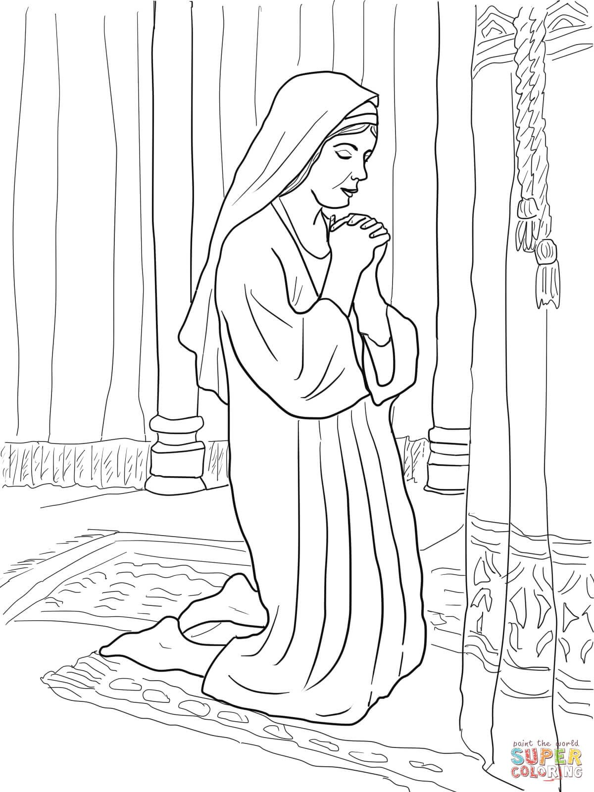 1200x1600 Hannah Prays For A Son Coloring Page From Prophet Samuel Category