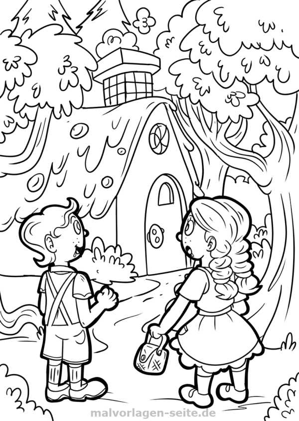 600x846 Coloring Page Hansel And Gretel Fairy Tale Gratis Malvorlagen