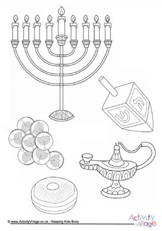 320x455 Hanukkah Colouring Pages