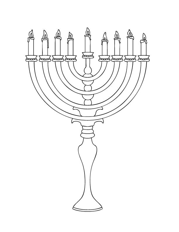 612x792 Hanukkah Menorah Printable