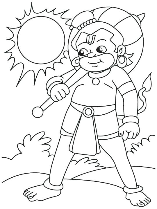 540x720 Hanuman Coloring Pages Lord With Sun Coloring Page Lord Hanuman