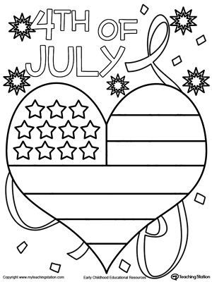 300x400 Of July Heart Flag Coloring Page
