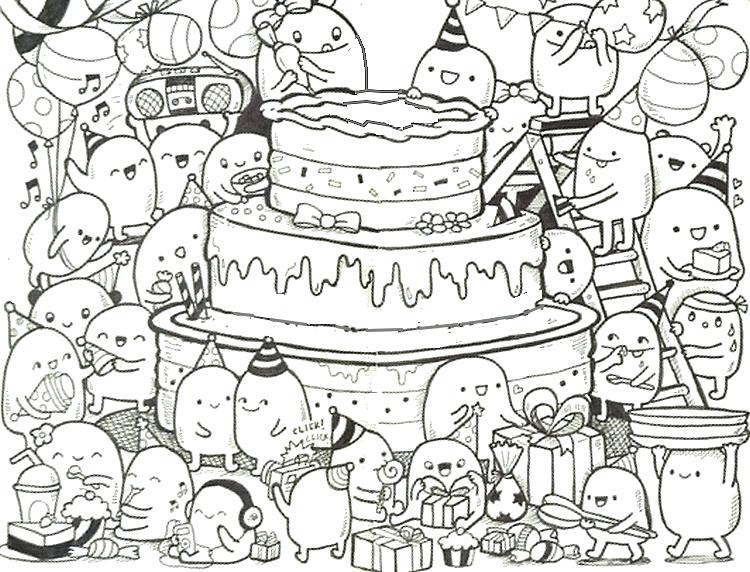 Happy Birthday Adult Coloring Pages At Getdrawings Com Free For