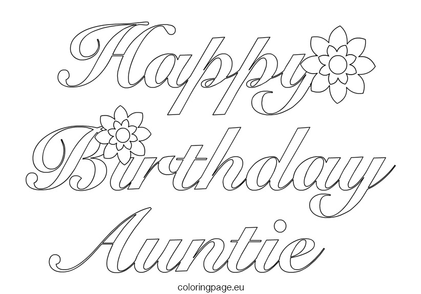 822x575 Happy Birthday Aunt Coloring Pages