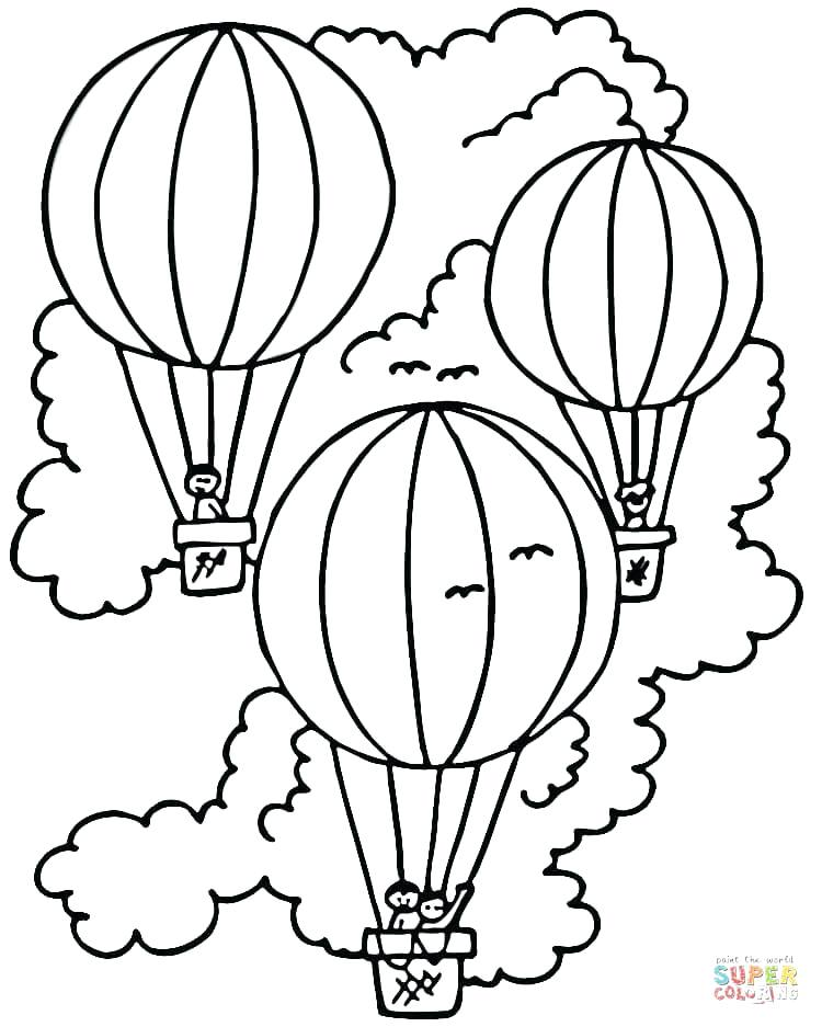 750x937 Happy Birthday Balloons Coloring Pages Simple Hot Air Balloon
