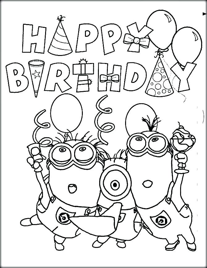 670x867 Happy Birthday Coloring Pages Flowers Kids Coloring Happy Birthday