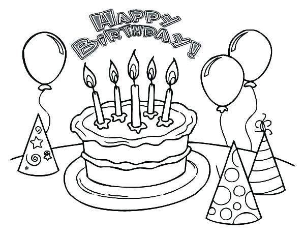 600x464 Birthday Cake Coloring Pages Preschool Happy Birthday Coloring