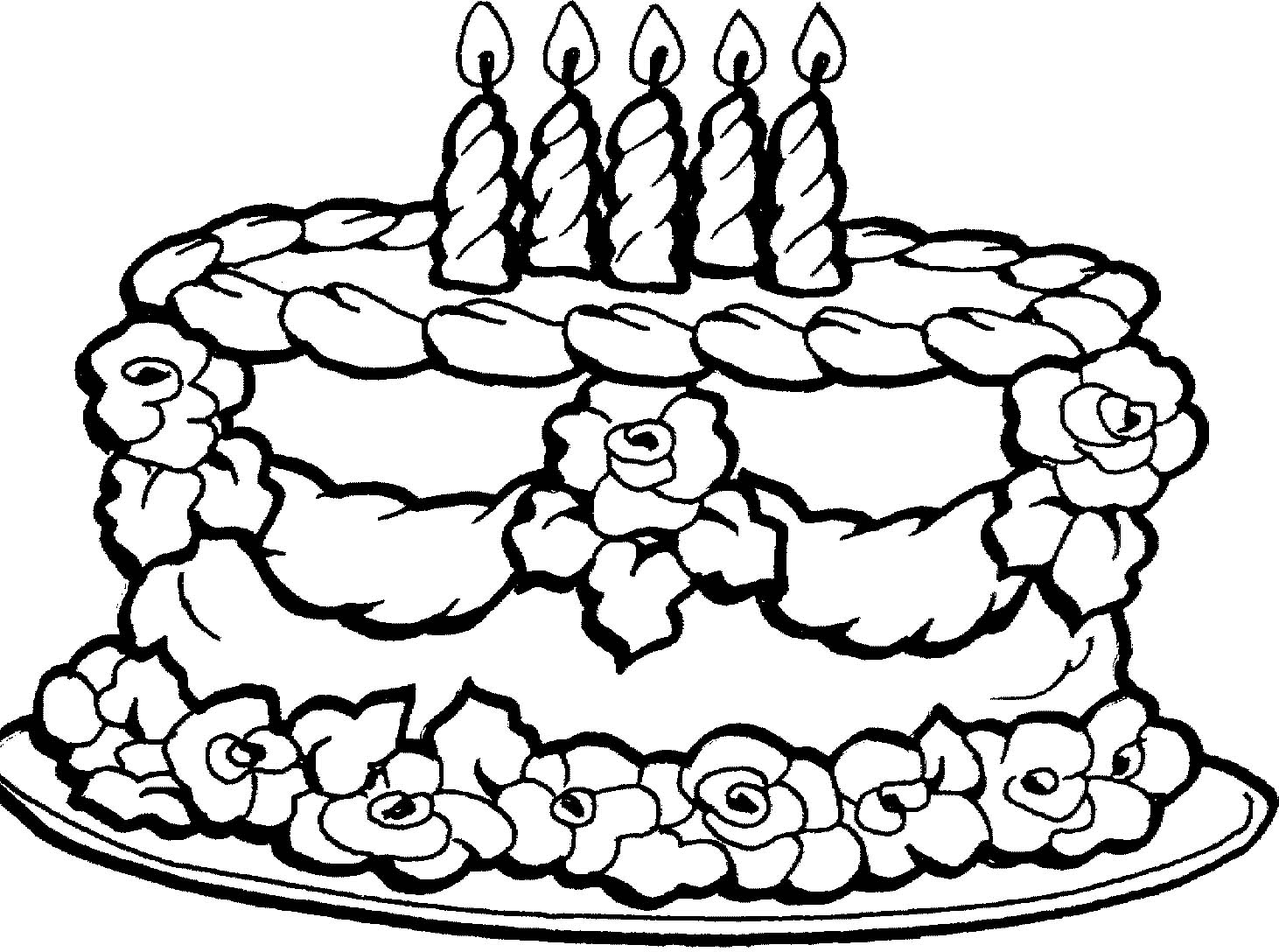 1462x1088 Birthday Cakes Images Black White Birthday Cake Coloring Page