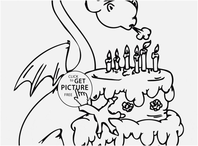 827x609 Birthday Coloring Pages Images Dragon And Happy Birthday Cake