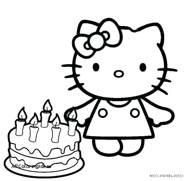 670x626 Coloring Page Cake Hello Kitty Happy Birthday Coloring Pages Happy