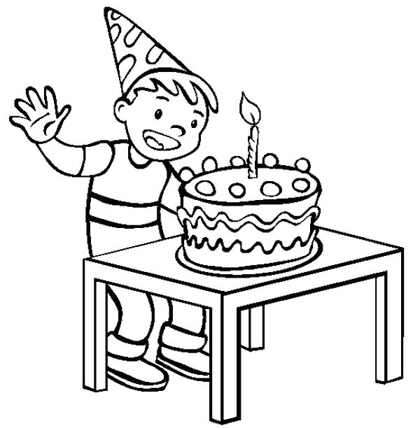600x612 Coloring Pages Birthday Cake A Happy Boy With Happy Birthday Cake