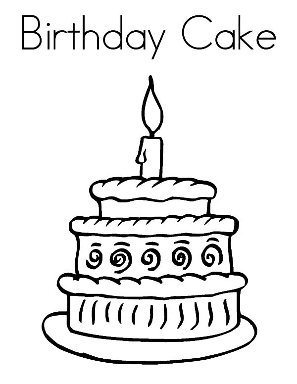 600x776 Happy Birthday Cake Coloring Pages