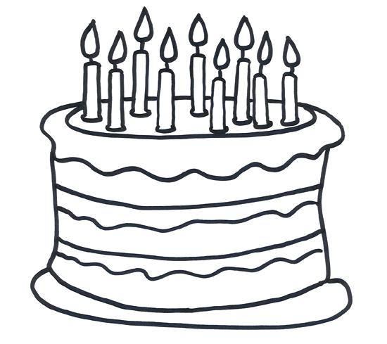 550x489 Happy Birthday Cake Coloring Pages Kids Coloring Colouring