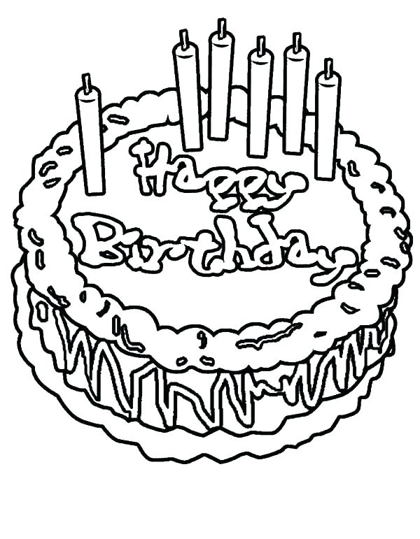 600x771 Happy Birthday Cake Colouring Page Coloring Free Pages Pictures