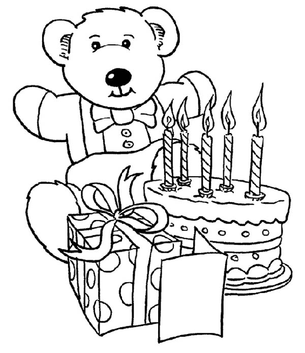 600x693 Teddy Bear And Present And Happy Birthday Cake Coloring Page