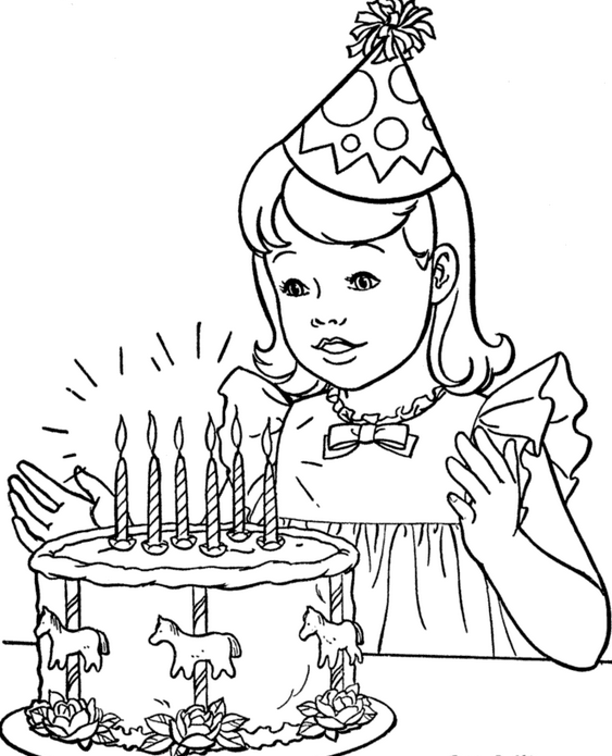 563x695 Happy Birthday Cake Coloring Pages For Girls