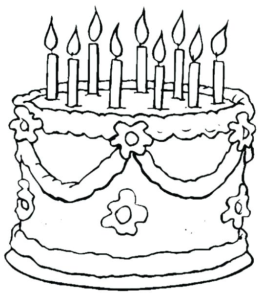 539x599 Birthday Cake Coloring Page Plus Birthday Cake Coloring Page Happy