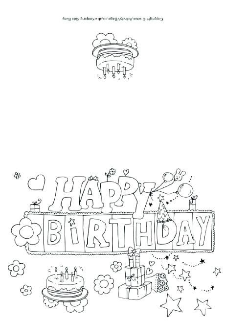 460x656 Happy Birthday Card Coloring Pages Printable Coloring Birthday