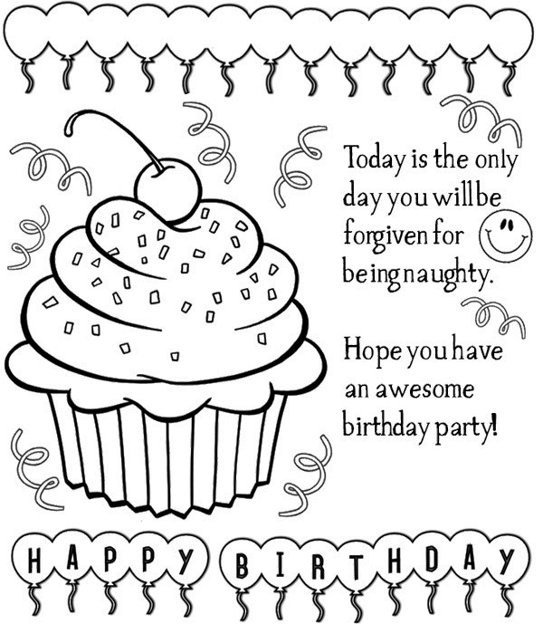 600x689 Happy Birthday Cards Coloring Pages Happy Birthday Card