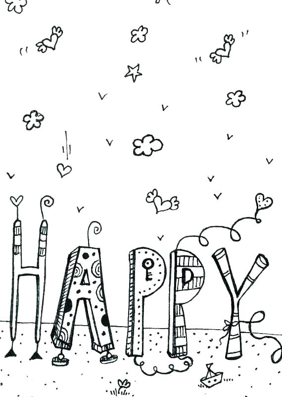 570x801 Happy Birthday Printable Cards Also Happy Birthday Coloring Pages