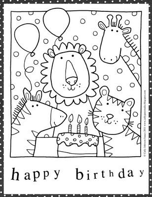 308x400 Happy Birthday Card Coloring Page Free Downloadable Printable