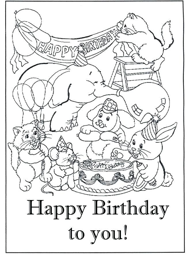 Happy Birthday Cards Coloring Pages at GetDrawings.com ...