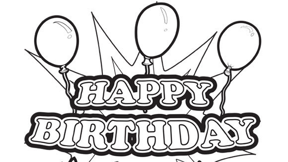 580x326 Happy Birthday Coloring Pages