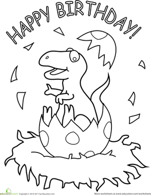 301x389 Happy Birthday Coloring Pages Happy Birthday Dinosaur Dinosaurs