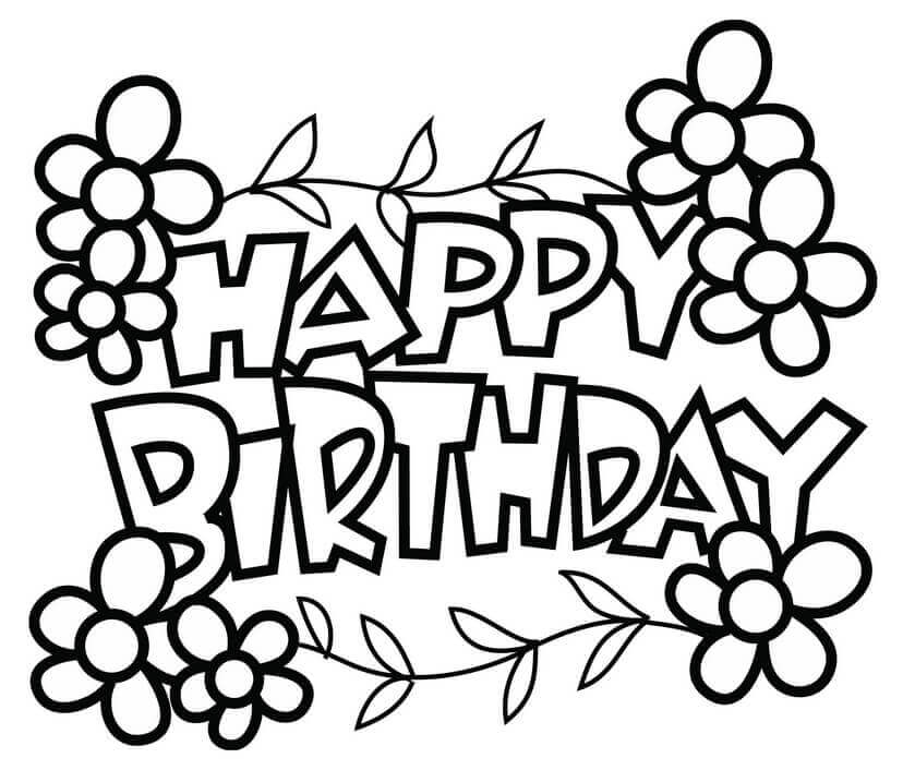 839x706 Free Printable Happy Birthday Coloring Pages