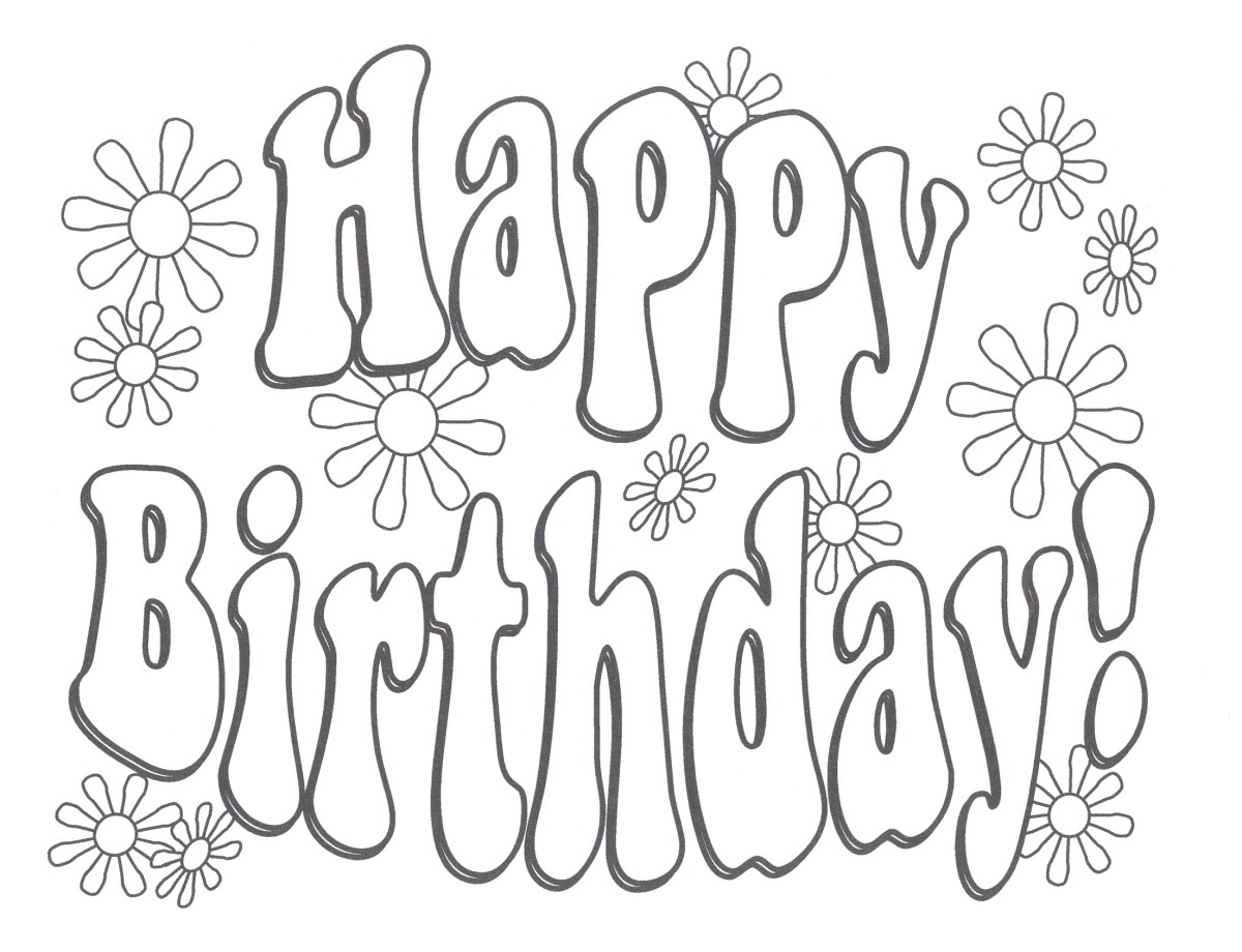 1200x920 Happy Birthday Coloring Pages The Sun Flower Pages