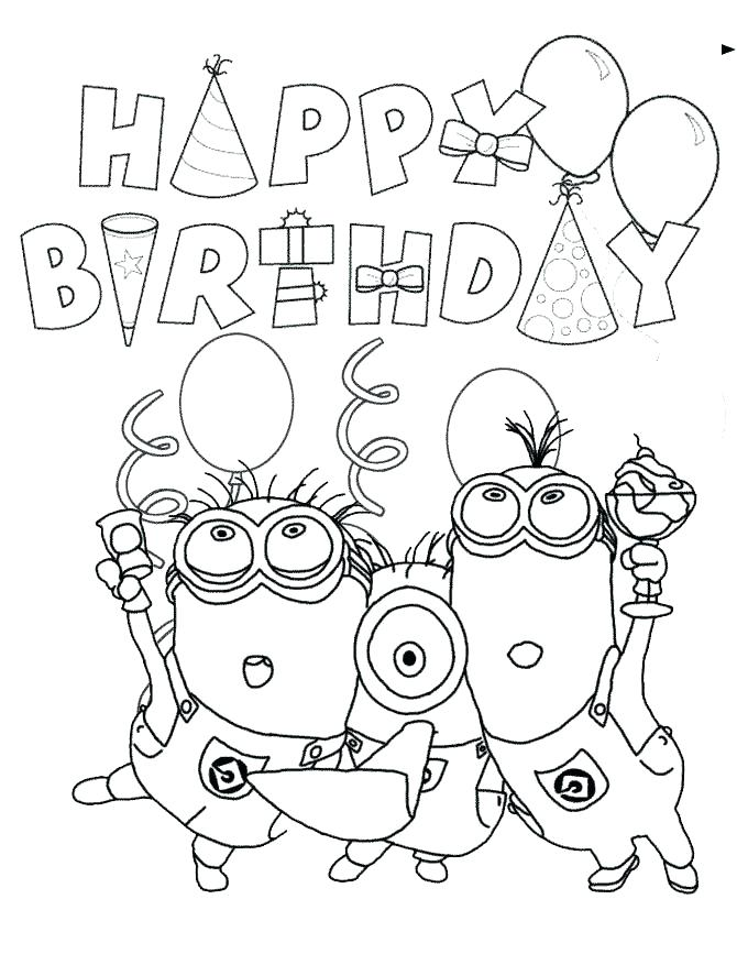 670x867 Printable Happy Birthday Coloring Pages Birthday Coloring Pages