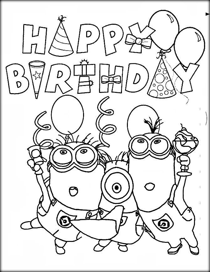 670x867 Minion Birthday Coloring Pages Minion Happy Birthday Coloring Page