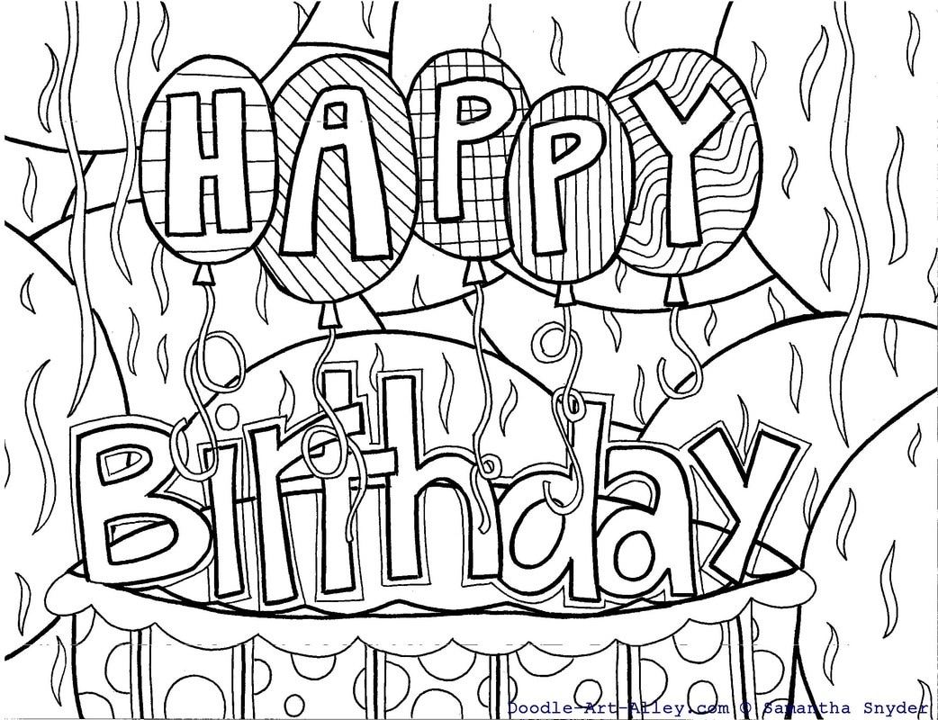 1042x800 Birthday Coloring Pages