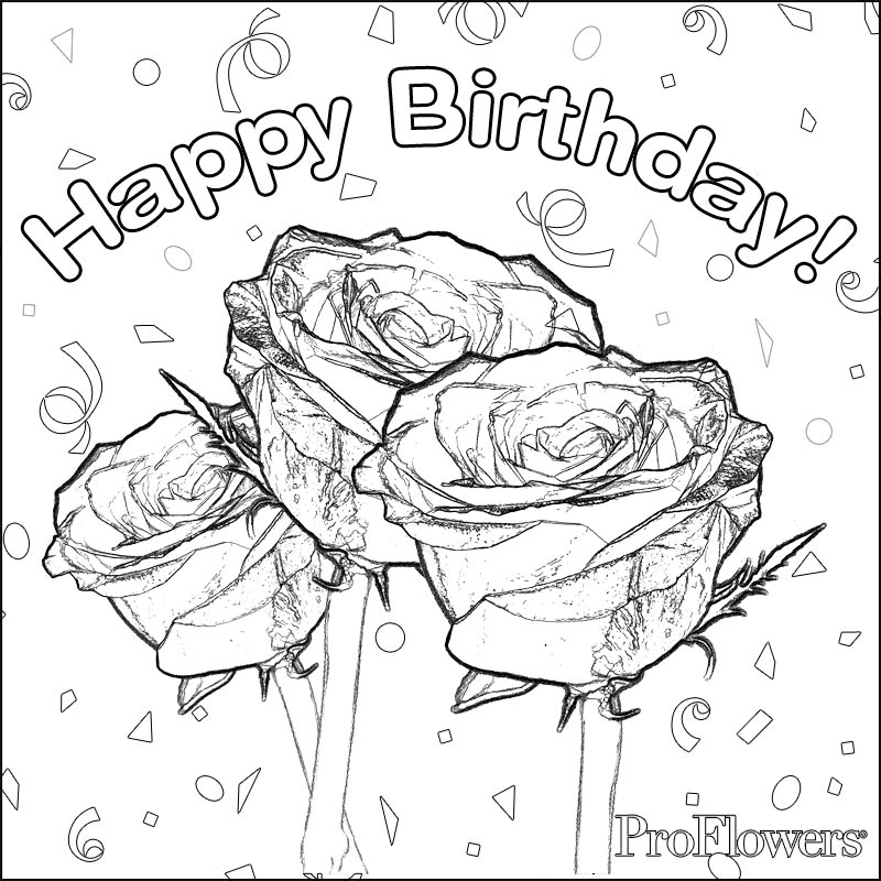 800x800 Happy Birthday Rose Coloring Pages