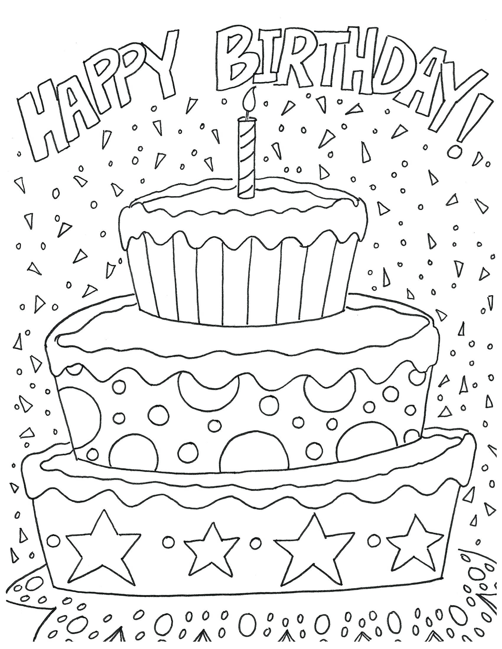 Happy Birthday Coloring Pages For Adults at GetDrawings ...
