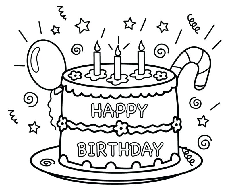 808x659 Free Printable Coloring Pages Of Birthday Cakes Happy For Mom Pag