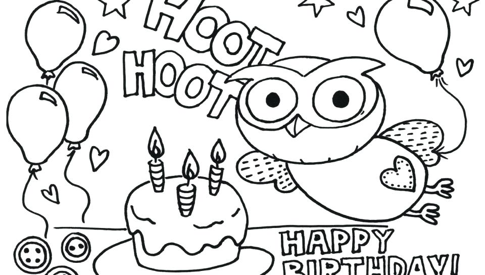 960x544 Free Printable Happy Birthday Coloring Pages Cards Cupcake Page
