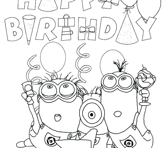 670x600 Happy Birthday Card Coloring Pages Happy Birthday Coloring Card
