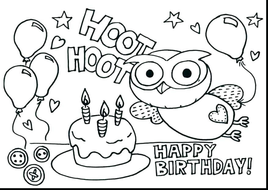 878x624 Happy Birthday Coloring Pages Printable Fresh Free For Kids