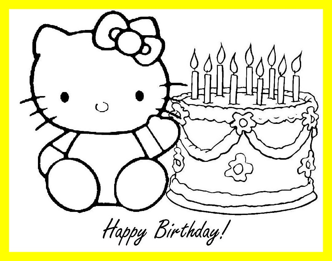 1076x845 Stunning Printable Happy Birthday Coloring Pages For Kids Hello