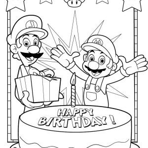 300x300 Mario Birthday Coloring Pages