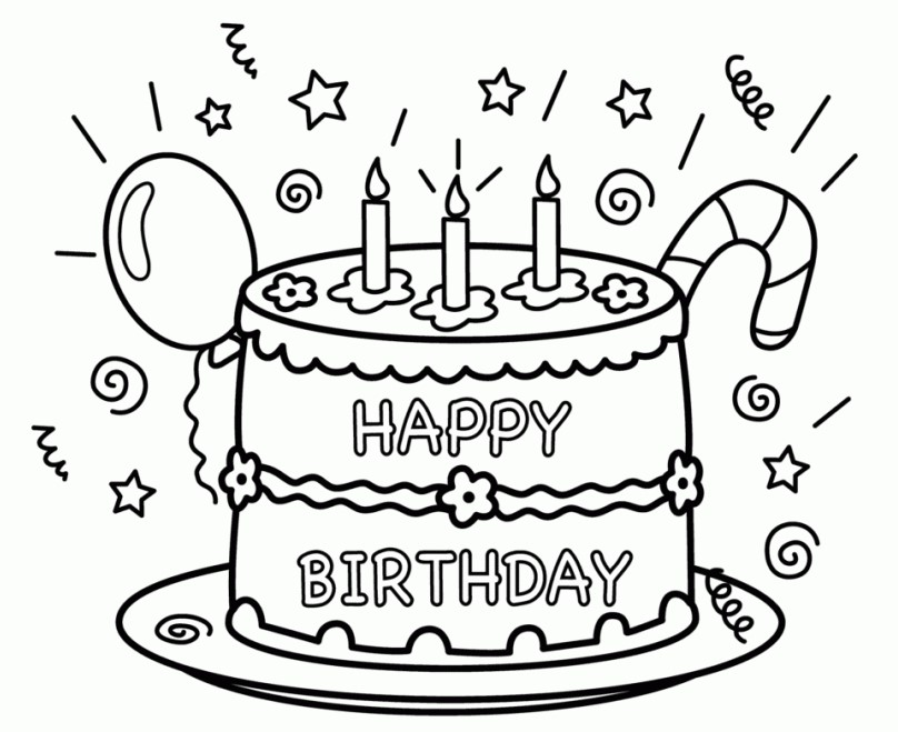808x659 Free Printable Happy Birthday Coloring Pages