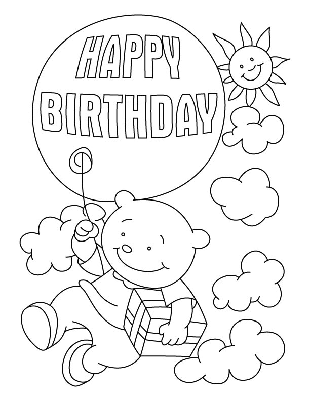 612x792 Happy Birthday Balloons Coloring Pages, Happy Birthday Coloring