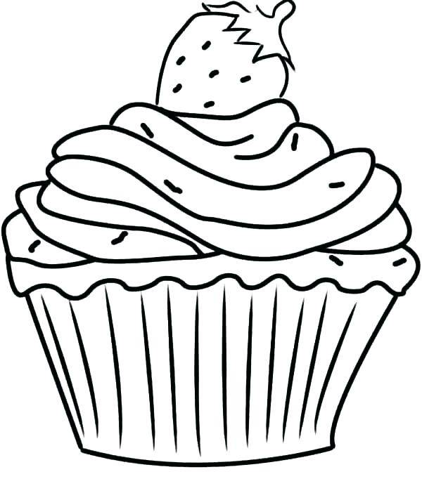600x692 Coloring Pages Of Cupcakes Birthday Cupcake Color Page Printable