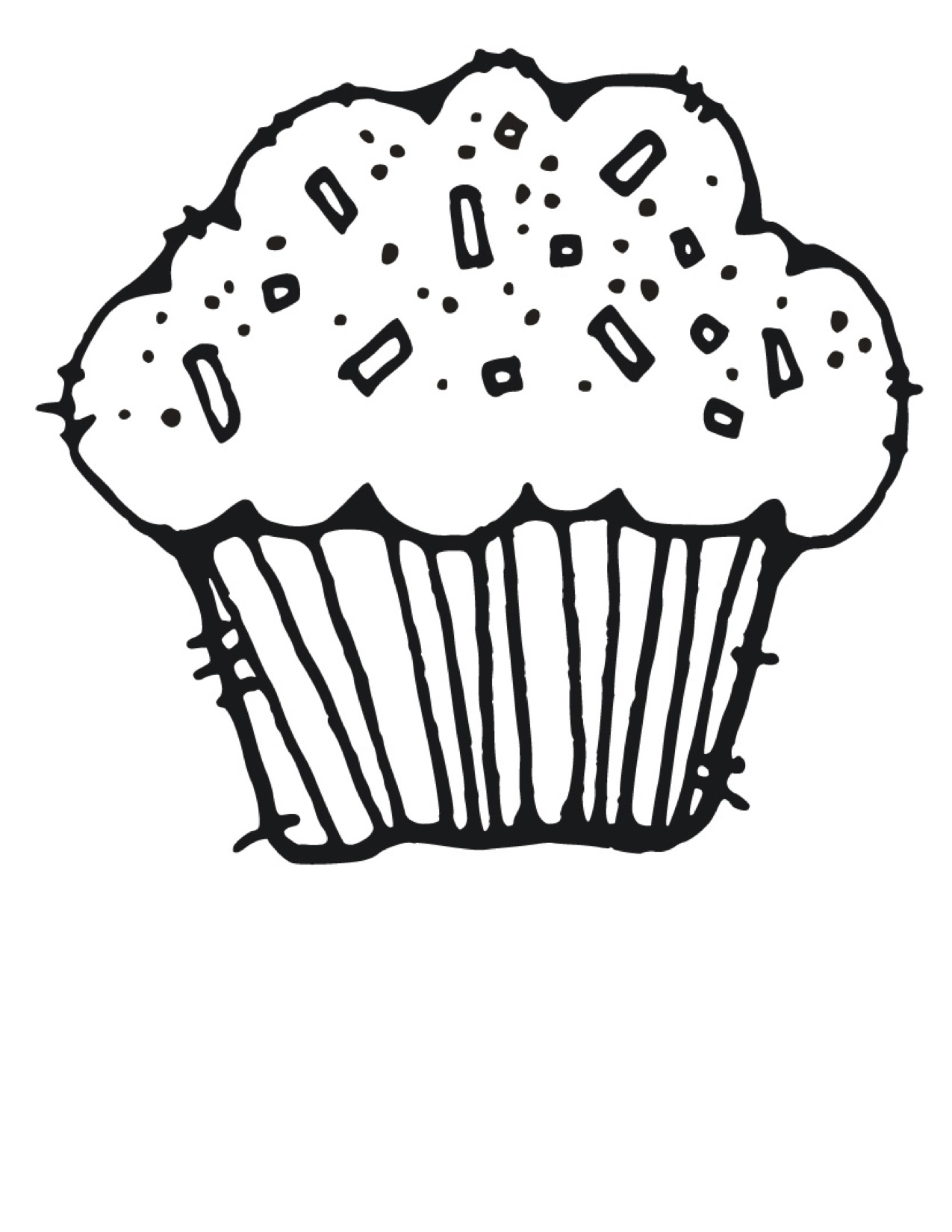 1275x1650 Full Cupcake Coloring Pages To Print Cake Happy Birthday Party