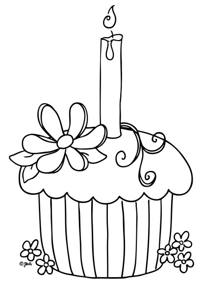 414x580 Happy Birthday Cupcake Coloring Pages